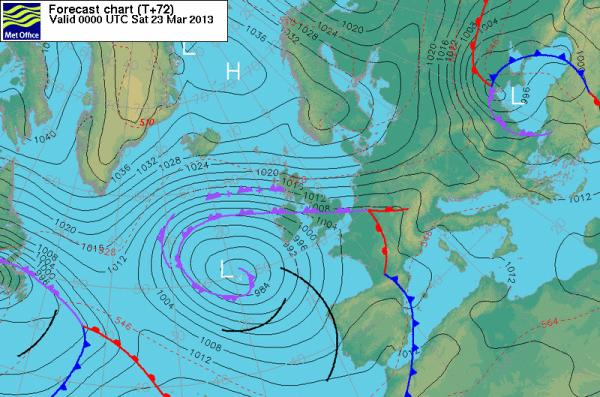 With a low pressure system continuing to churn off the west coast of Europe, favourable winds will continue ot blow from Iceland for the remainder of this week - as shown by this map for Saturday, March 23.