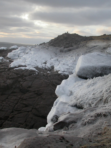 An early morning with snow and ice on North America's easternmost rocks at Cape Spear.