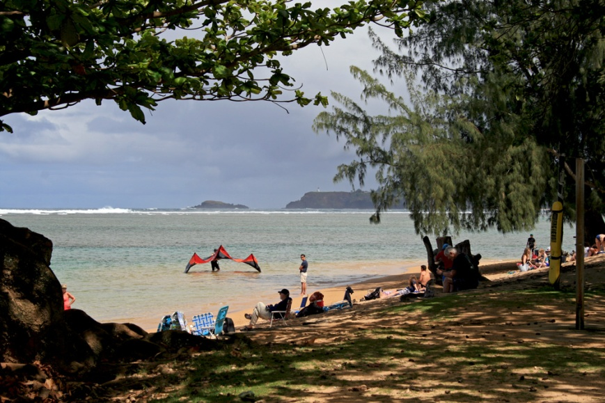 Anini Beach, with Kilauea Point looming in the background.