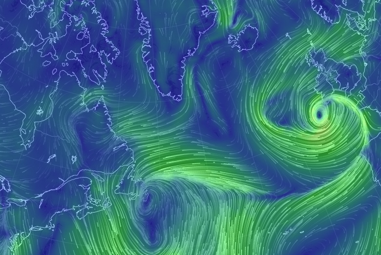 This map shows the winds as they currently are (Friday evening, April 25) ... looking awesome!!