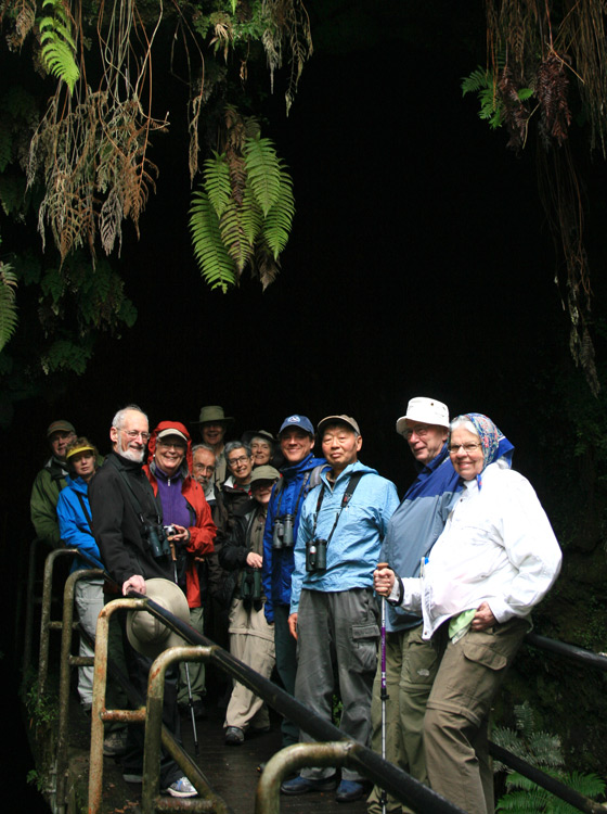Our excellent Eagle Eye Tours group at the entrance to the Thurston Lava Tube.