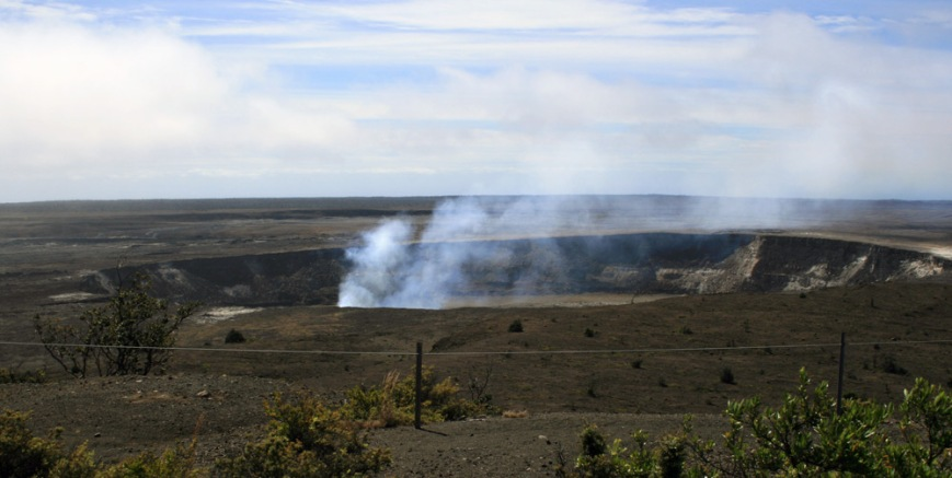 Kilauea Caldera - an active crater where lava continuously bubbles a few hundred feet below the rim.