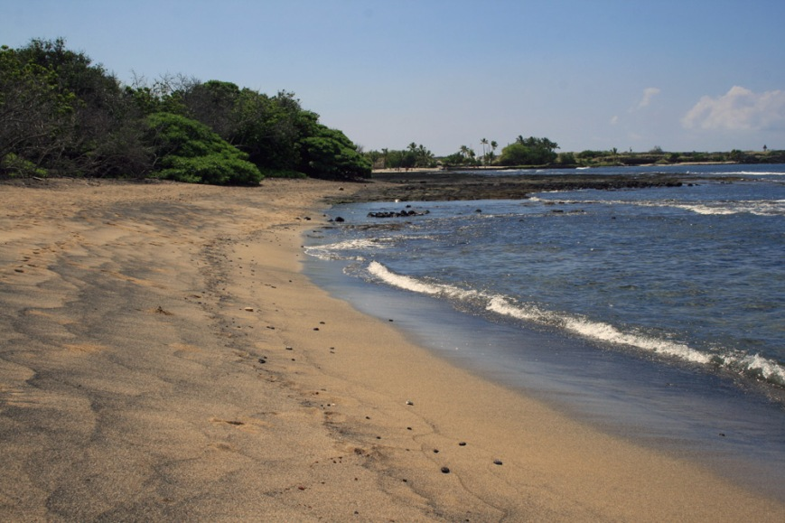 At many of Kona's beaches, like this on in Honokohau harbour, the traces of black volcanic sand can be seen mixed in with lighter sand.