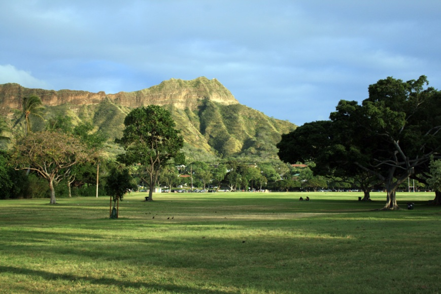 Diamond Head, on the western edge of Waikiki, is seen here from Kapiolani Park.