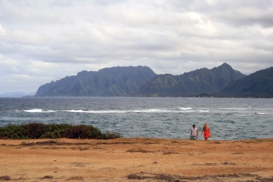 The scenic NE coast of Oahu, as seen from La'ie Point.