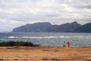 The scenic NE coast of Oahu, as seen from La'ie Point.