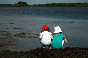 My two inquisitive daughters check out what's lurking in the tidal pools at Fox's Dock, near Lewisporte.