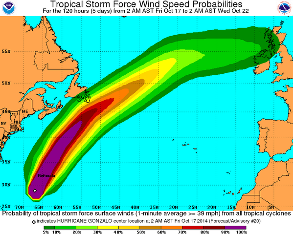 According the the National Hurricane Centre (NHC), there is currently a 20-40% chance of tropical storm-force winds over the Avalon Peninsula on Sunday morning. Combined with heavy rain, we could be in for some nasty weather!