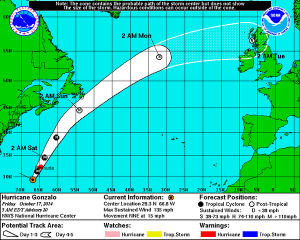 Forecast track of Hurricane Gonzalo (as of this morning, Fri Oct 17).