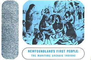 This illustration, from a book by Florence Cowan, depicts the Maritime Archaic Indians who first settled the island of Newfoundland more than 5000 years ago.