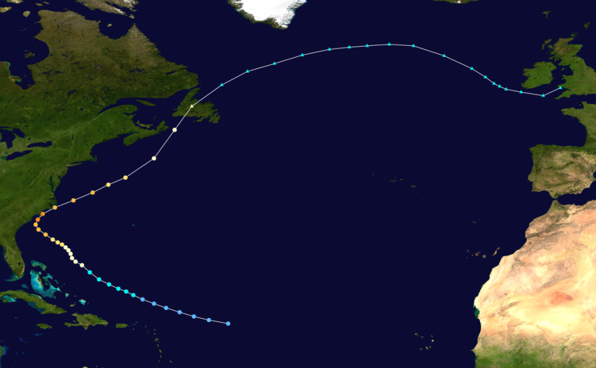 The more westerly track of Hurricane Helene, which brought dozens of Black Skimmers to Newfoundland ... and who knows what else?!?! Very few hurricanes have a trajectory like this.