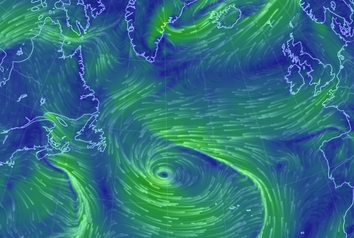 Winds like these have been blowing almost directly across the Atlantic the past few days ... perfectly aligned to bring us some wayward European/Iceland migrants (Screenshot: April 22).
