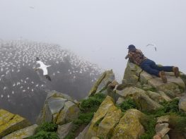 Nick Lund with a towering view of the gannets at Cape St. Mary's